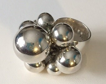 Sterling silver bubbles ring, size 5