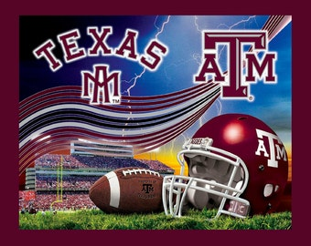 Texas A & M NCAA Football Stadium Double-Sided Fleece Blanket