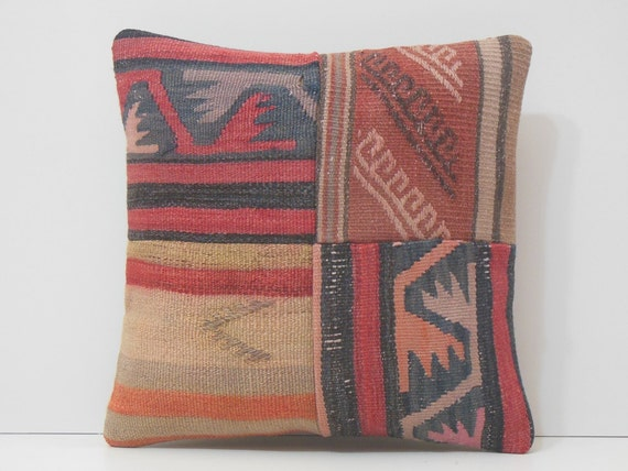 primitive decor embroidered cushion striped throw pillow big
