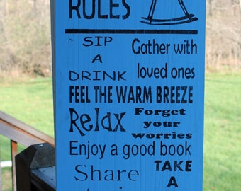 Deck Rules Wood Sign, Subway Sign, Family Rules Sign, Garden Sign, Outdoor Wood Sign, Rustic Wood Sign, Typography