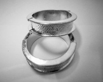 2 Zamak Ring Components, Antique silver groove diy base blank