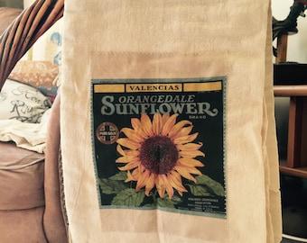 Sunflower floursack tea towel