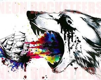 "24x36 ""War"" Wolf  Original Watercolor Ship Animal Art Print"