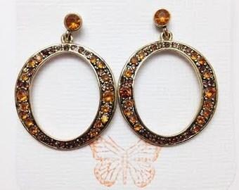 Vintage Gold and Topaz Earrings, November Birthstone