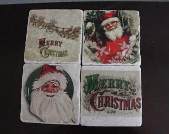 Vintage Christmas Marble Coaster Set