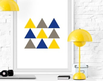 Triangles print, Yellow and blue triangles, Geometric print, Geometric art, Triangles art, Yellow and blue print, Printable poster, Mustard