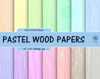 Pastel Wood Texture Digital Papers - wood background papers in 14 soft pastel colors - pastel background - Commercial Use - Instant Download