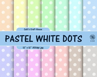 Pastel Polka Dot Digital Papers - White dots on pastel backgrounds - Soft colors - 12x12 inches - Commercial Use - Instant Download