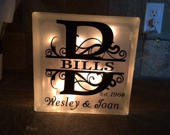 Personalized Monogram Glass Block