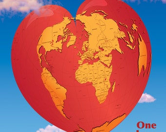 Heart World Map, One Love, Poster Size 24x24 World Countries Map