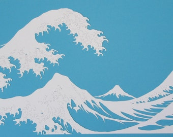 The Wave inspired by Hokusai, papercut