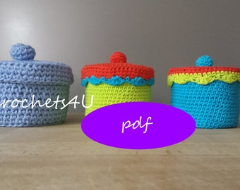 crochet pattern box with lid, crochet box with lid, crocheted box with lid