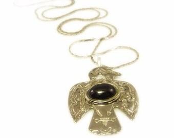 Southwestern Style Silver Tone Bird Pendant Necklace