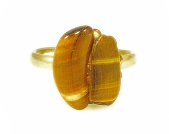 Double Tigers Eye Polished Stone Ring - Adjustable