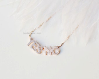 Dainty Yes no necklace in Rose gold, birthday gifts, Necklaces for Women, gift ideas