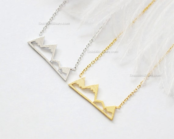 mountain necklace in silver dainty mountain top by missdiary. Black Bedroom Furniture Sets. Home Design Ideas