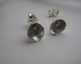 Recycled silver, forged, small, concave earstuds
