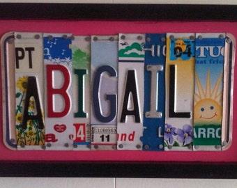 Custom License Plate Art - 12 dollars per letter
