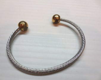 Gold Cable Cuff Bracelet Bangle Vintage 1970s Jewelry