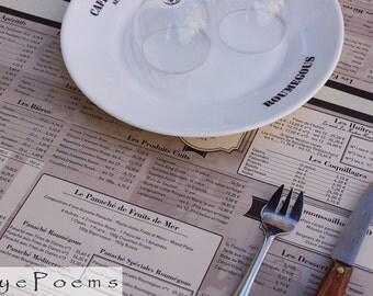 French reasturaunt menu photograph 5x7  photo 8x10 size 8x12 print 11x17 photography Europe