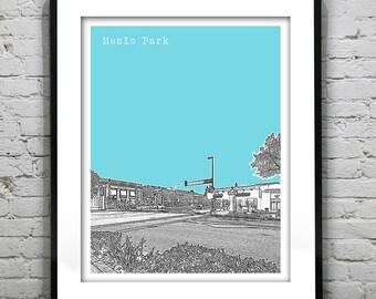 Menlo Park California Skyline Art Print Poster CA