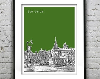 Los Gatos California Skyline Art Print Poster CA Version 2