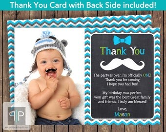 Mustache Photo Thank You Card, Little Man Thank You Card, Mustache Bash, Chevron, Hipster, Printable Mustache Photo Thank You Card