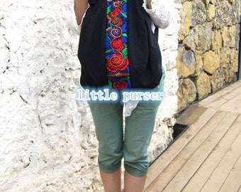 backpack Hmong/Tribal style, with vintage embroidered piece, vintage redesign/Backpack Canvas