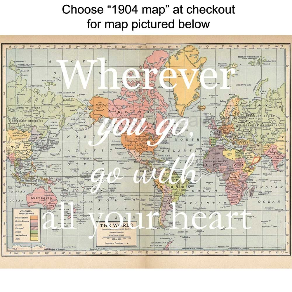 Wherever You Go Map Print All Your Heart Vintage Map Poster - Vintage los angeles map poster