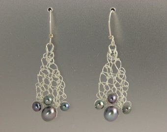 Knit Fine Silver with Black Pearl Earrings