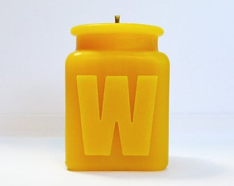 Handmade Personalized Letter W Monogram Beeswax Candle,  All Letters and Numbers Available