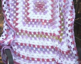 Granny Square Baby Blanket - Granny Square Afghan - Crochet Baby Afghan - Purple Baby Blanket - Crocheted  Baby Gift - Baby Shower Gift