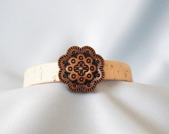 Copper Flower and Leather Bracelet