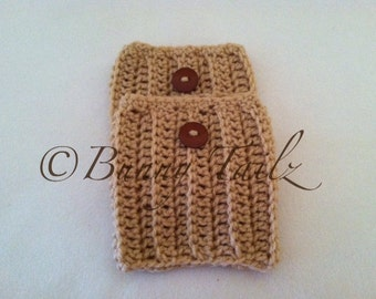 Boot Cuffs Button Boot Socks Crochet Taupe Tan
