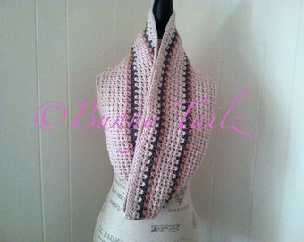 Chunky Neck Warmer Crochet Infinity Scarf Cowl Pink Gray Linen