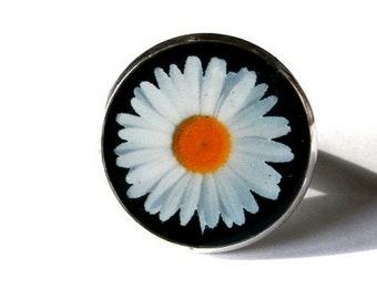 Daisy ring - resin ring Picture - ring Daisy Charm - vintage Daisy ring - Flower Ring Statement - Ring Adjustable - Ring Daisy - flowers