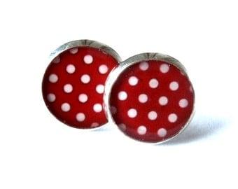 POLKA DOT EARRINGS - rockabilly earrings - red and white - retro stud earrings - 50's jewelry - gift idea - Pin up jewelry