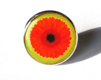 FLORAL RING - Spring floral ring - Flower Ring - 20mm ring - orange -green - adjustable ring