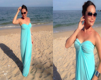 Blue green  turquoise Strapless  long maxi dress sun evening all size