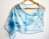 Hand painted Blue Silk Scarf with Apple Blossoms. Handpained, batik. Scarf for Woman - Gift for her - head scarf - long scarf