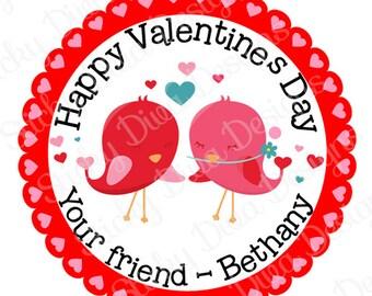 PERSONALIZED VALENTINE STICKERS - Sweet Love Birds Design  - Round Gloss Sticker Labels
