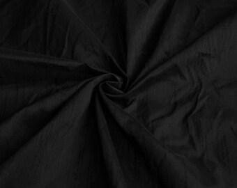 Midnight Black Art Silk Dupioni -Pure Black Faux Silk -We Take Wholesale Fabric Orders -1 Yard -Dress Material
