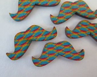 Wood Buttons - Mustache Buttons - 5 pieces - 38x15mm - WMB2