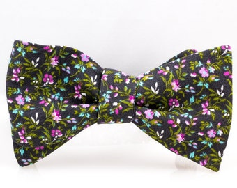 "The ""Gray Floral"" Self Tie Bow Tie"