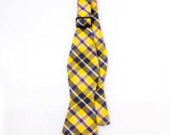 Boys Yellow Plaid Bow Tie