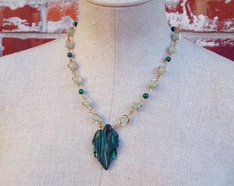 Lush Life- Malachite Leaf Beaded Jade Statement Necklace