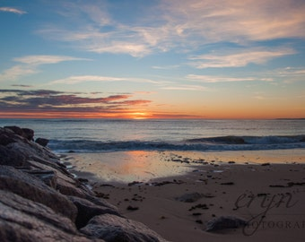 plum island sunrise, beach photography, morning sky, home decor, new england, fall