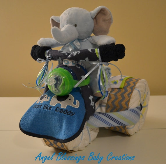 Tricycle diaper cake baby shower centerpiece made to order for boy