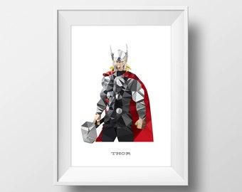 Digital Download Thor Geometric Abstract Superhero Poster Print Art - Boys Room - 8x10, 11x14 Iron Man Superhero Print