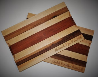 Personalized Cutting Board Engraved Mixed Hard Wood for Wedding, Anniversary, housewarming gift